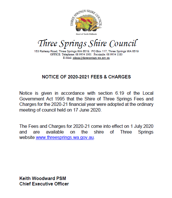 Notice of 2020 21 Fees and Charges